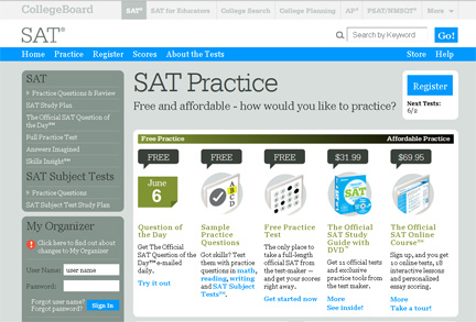 Practice for the SAT at sat.collegeboard.org