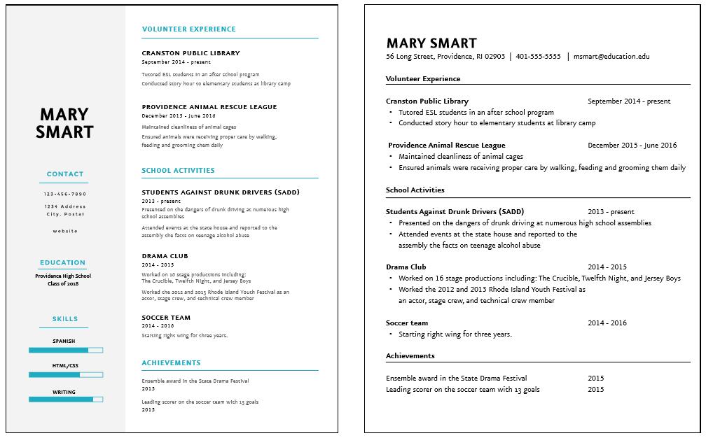 creating a high school resume